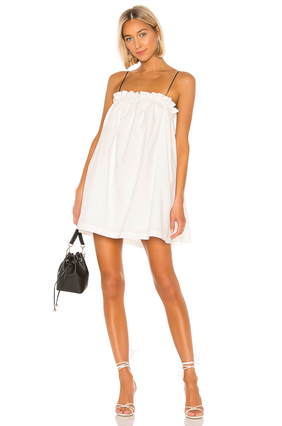 L'Academie The Arcello Mini Dress in White & Black