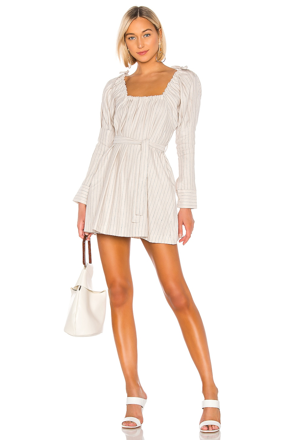L'Academie The Celine Mini Dress in Beige & Navy Stripe