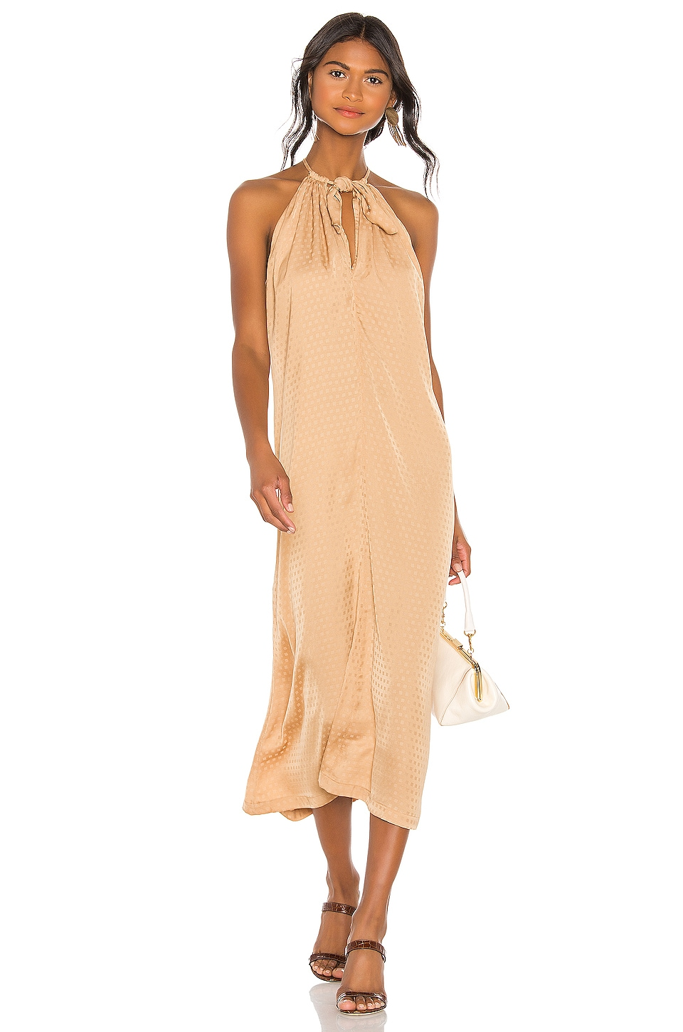 L'Academie The Annick Midi Dress in Pale Gold