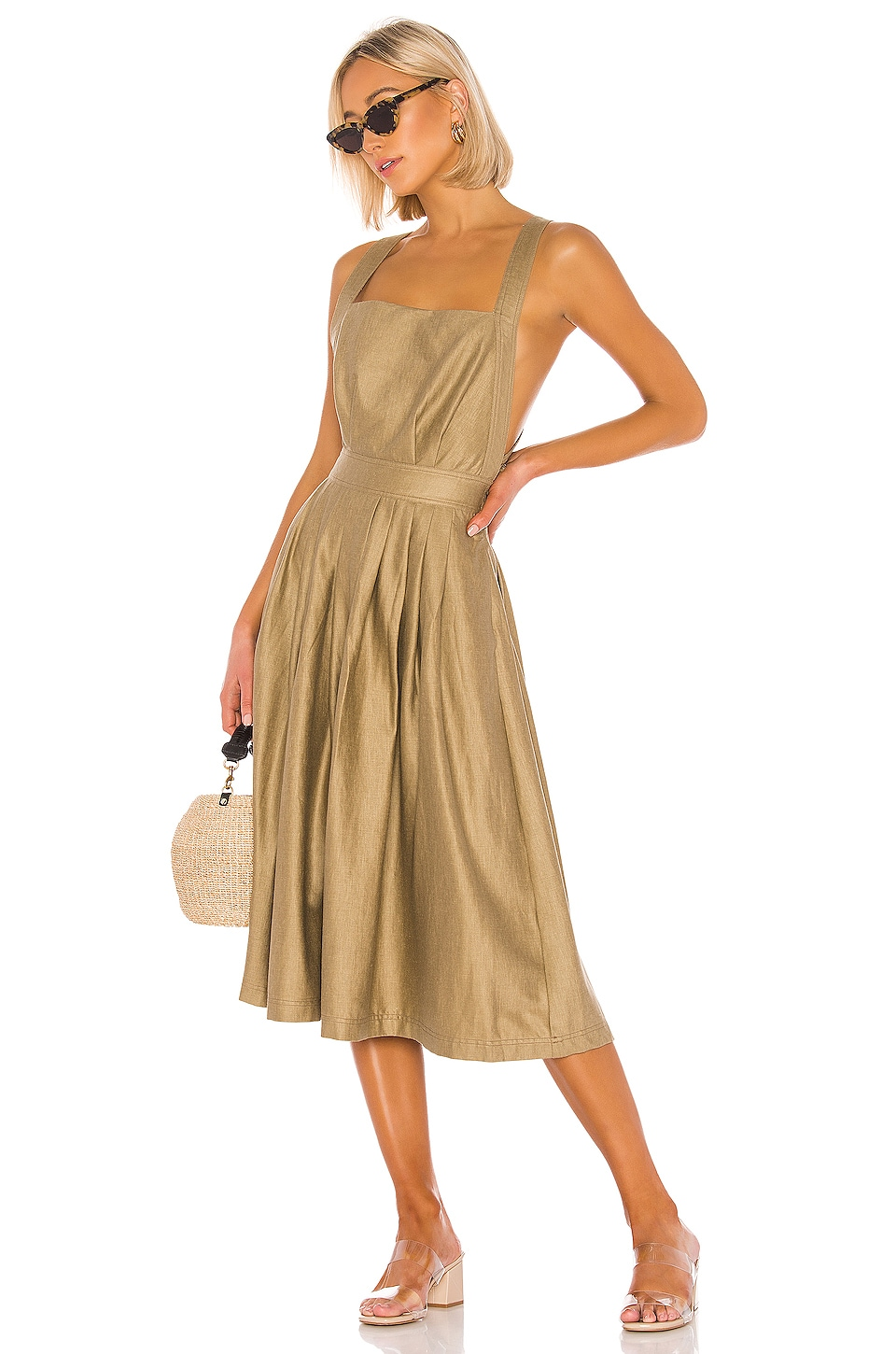 L'Academie The Liane Midi Dress in Olive Green
