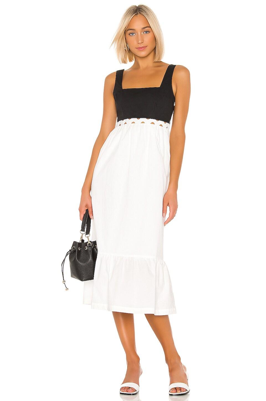 L'Academie The Jema Midi Dress in White & Black