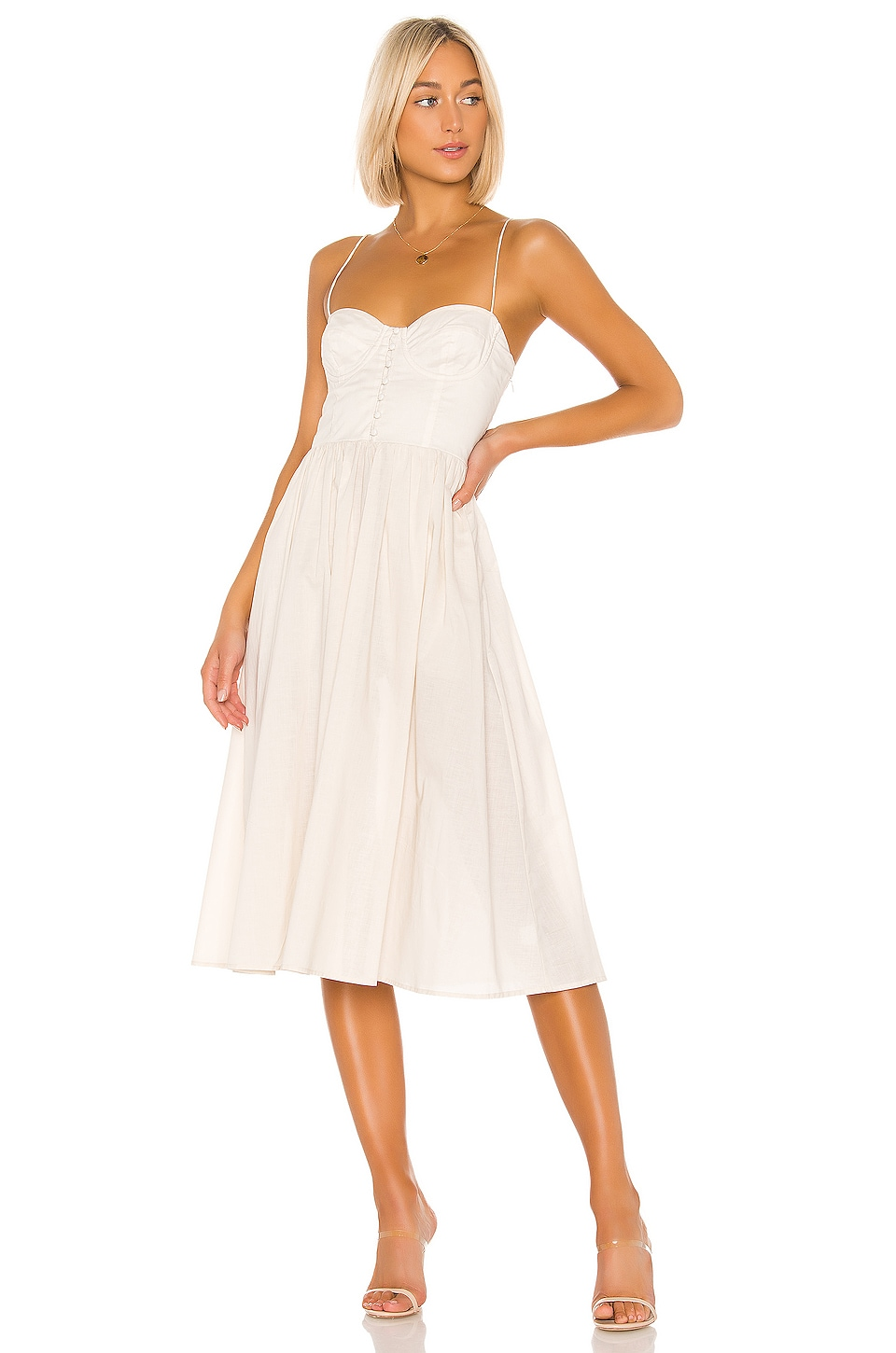 L'Academie The Sonia Midi Dress in Beige