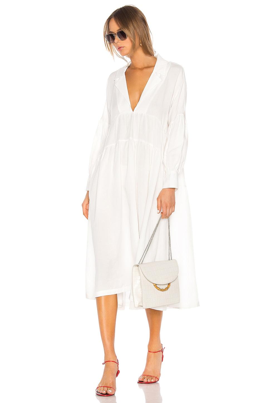 L'Academie The Celina Midi Dress in White