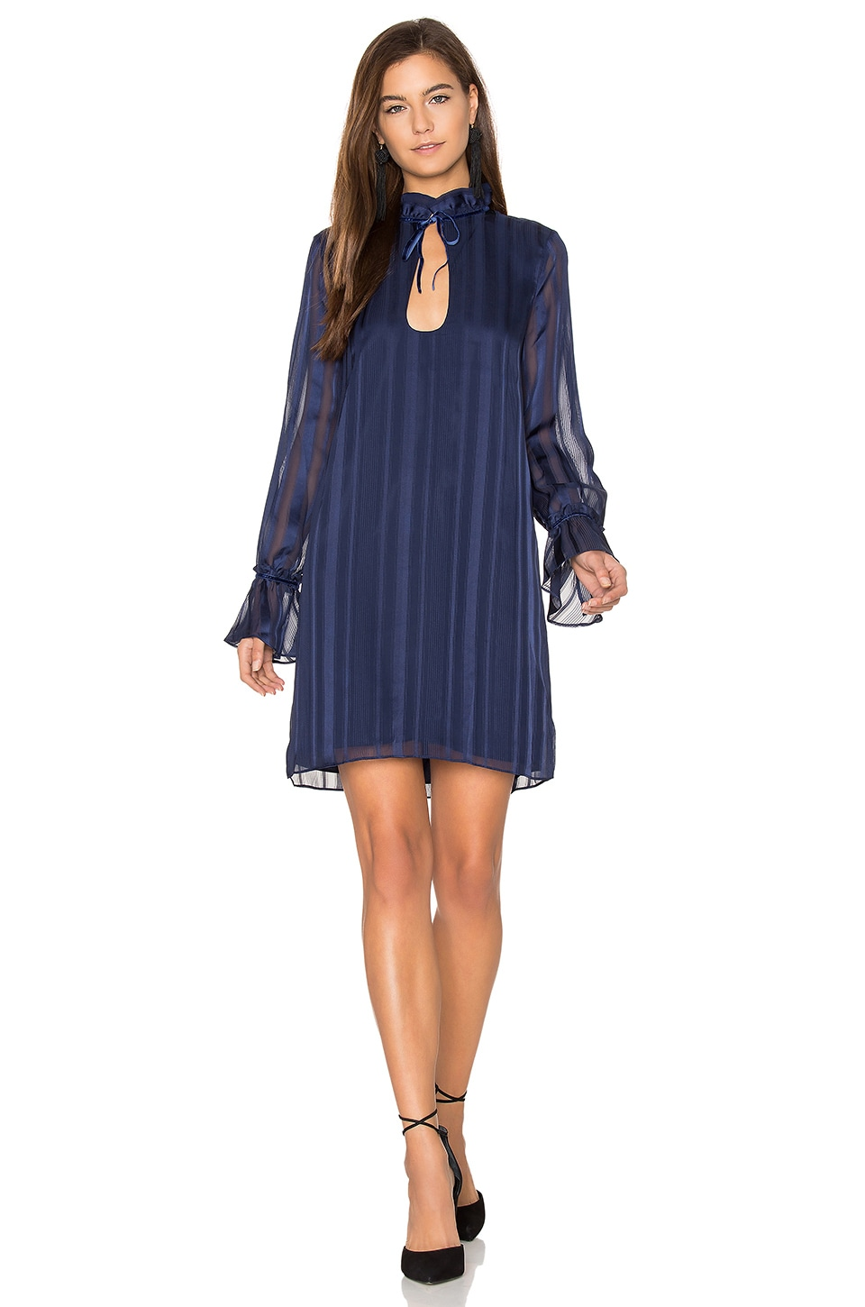 L'Academie The 70s Ruffle Sleeve Dress in Navy