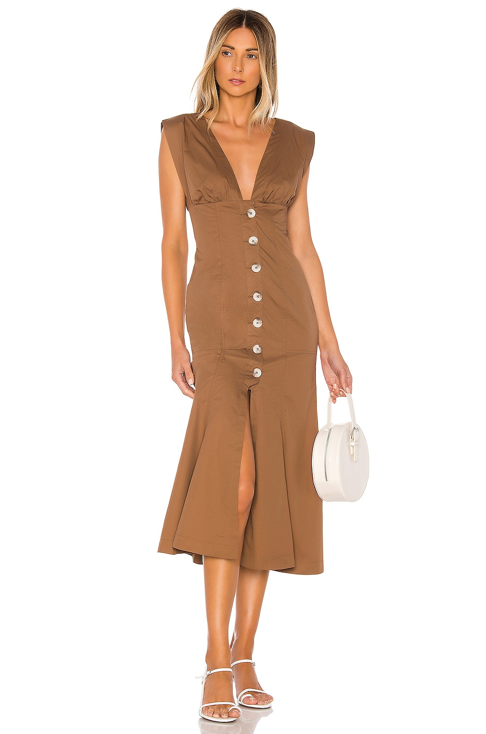 L'Academie The Gabrielle Midi Dress in Pecan Brown