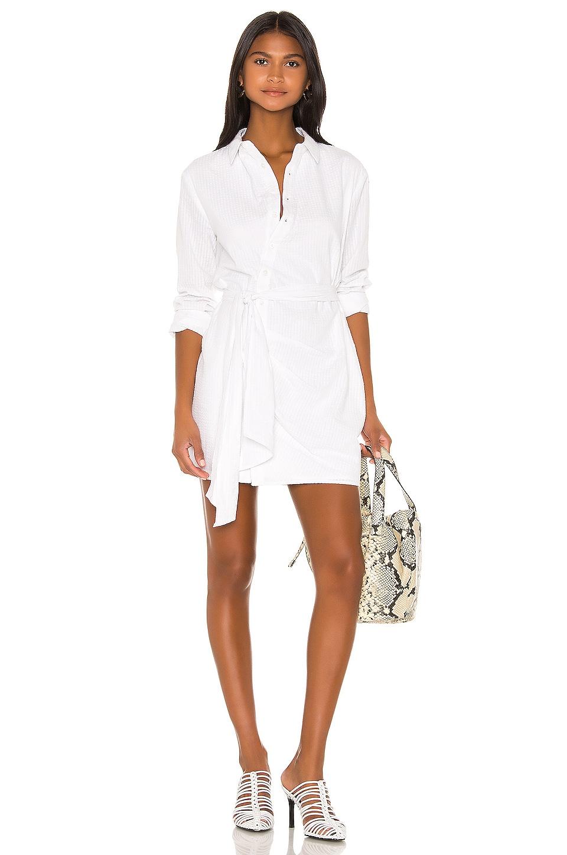 L'Academie August Shirt Dress in White Stripe