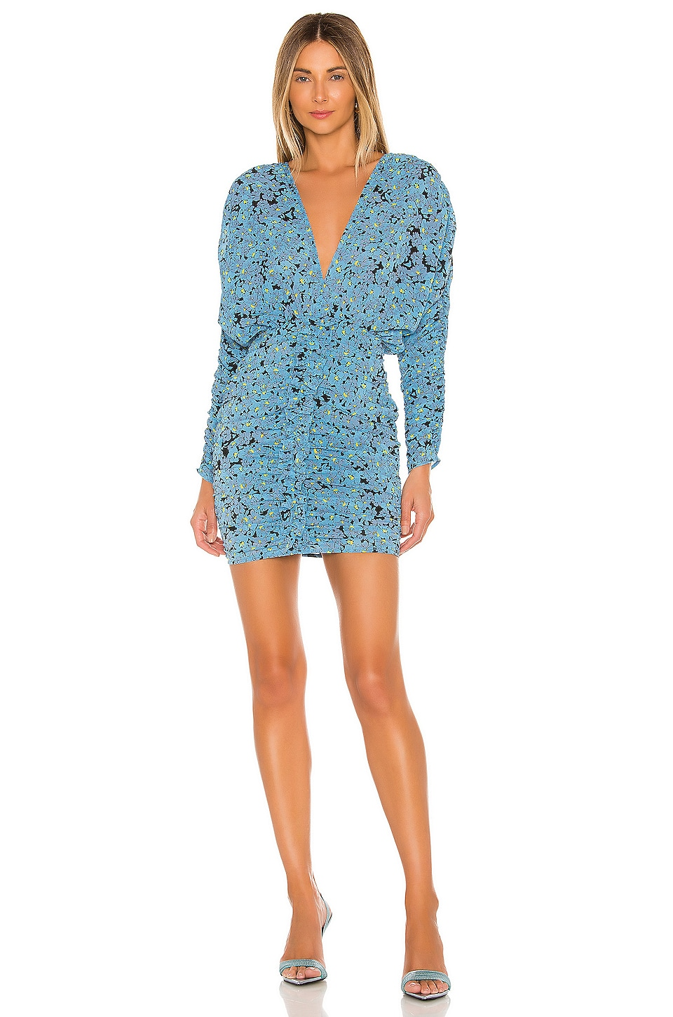 L'Academie The Nicoletta Mini Dress in Blue Floral