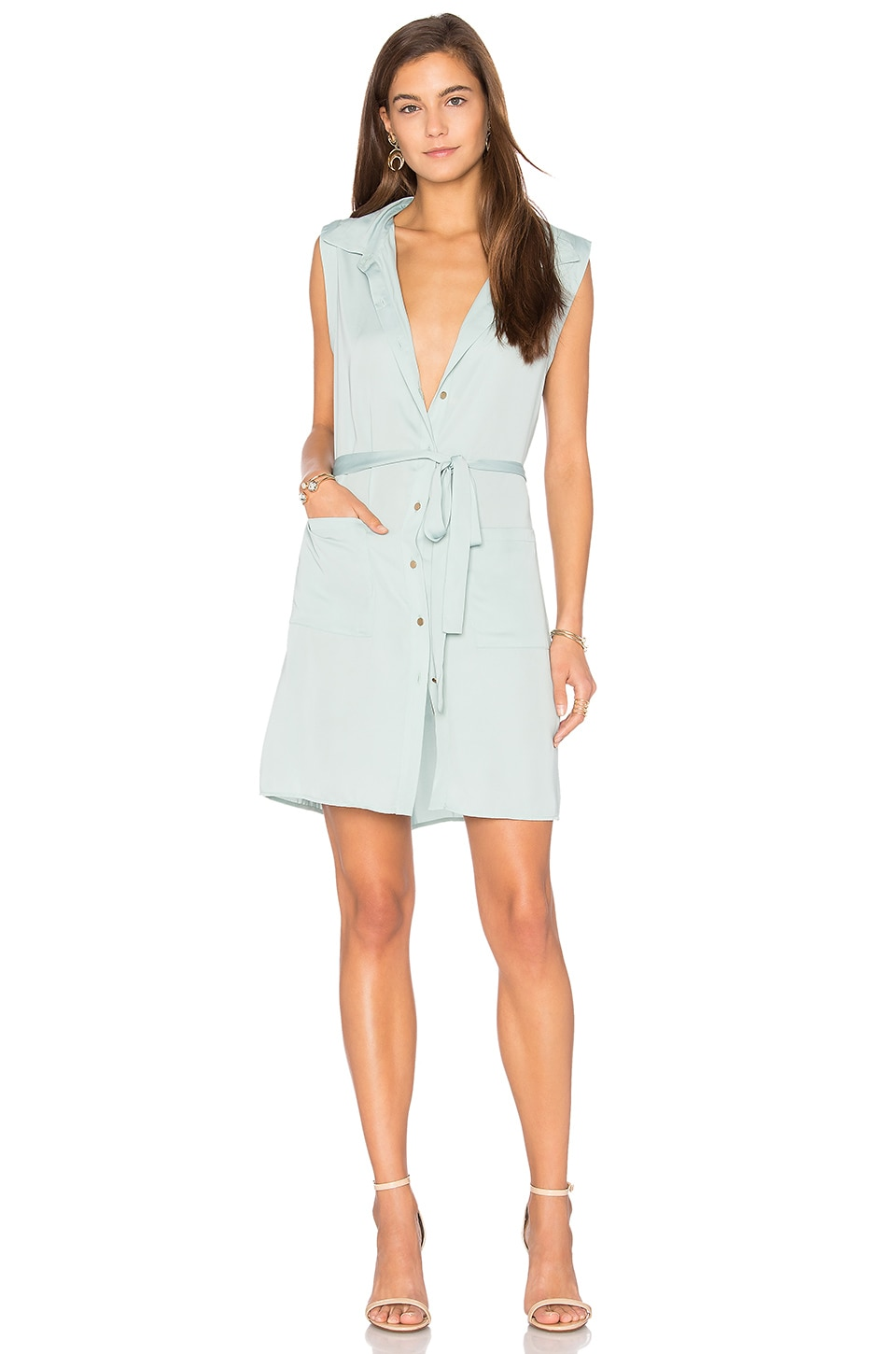 L'Academie The Sleeveless Shirt Dress in Seafoam