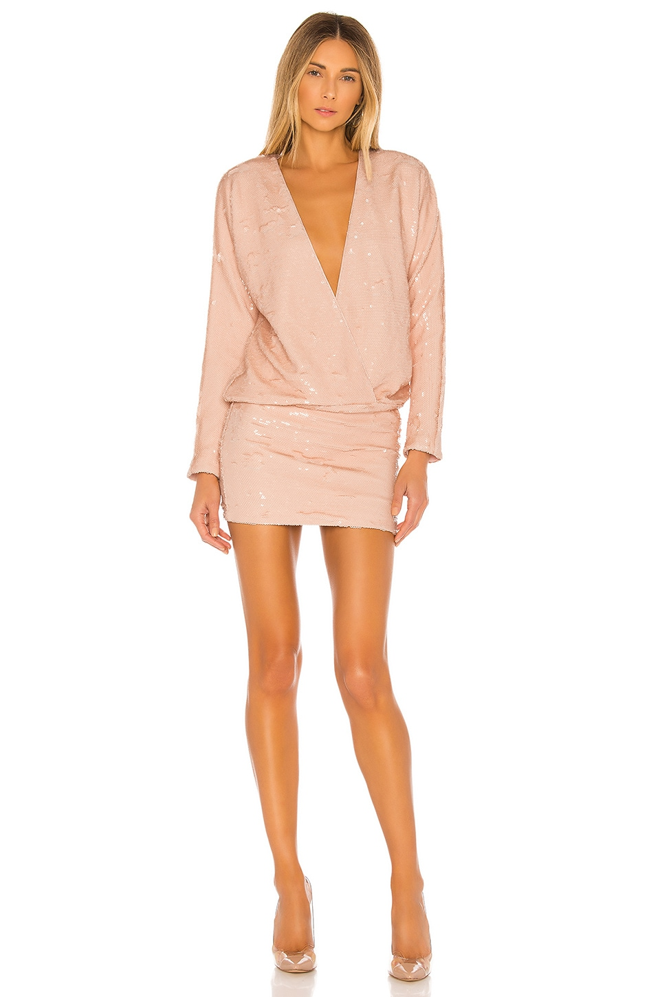 L'Academie The Clementine Mini Dress in Nude