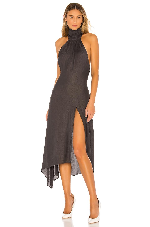 L'Academie The Vanessa Midi Dress in Dark Gray