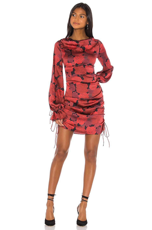 L'Academie The Gallarde Mini Dress in Red Peony