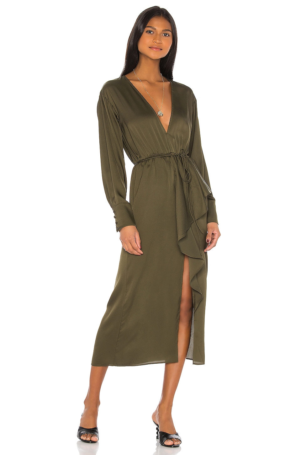 L'Academie The Tracee Midi Dress in Olive Green