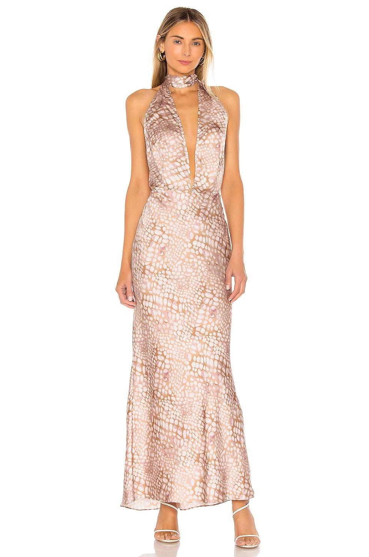 L'Academie The Nina Midi Dress in Multi Scale