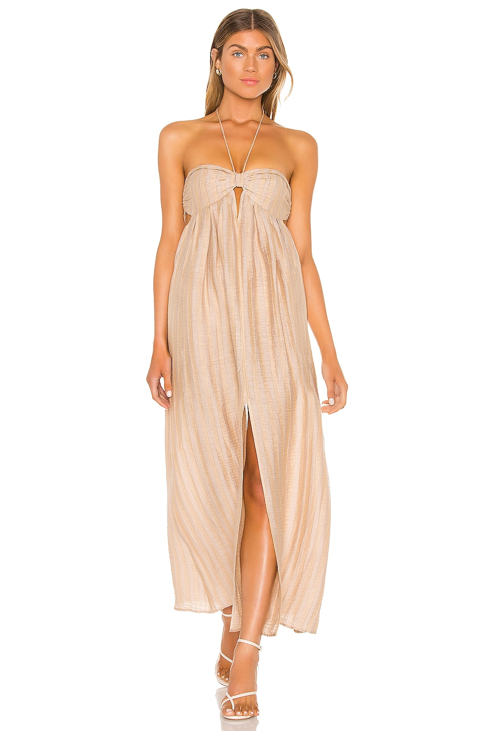 L'Academie The Jolena Maxi Dress in Wheat Brown
