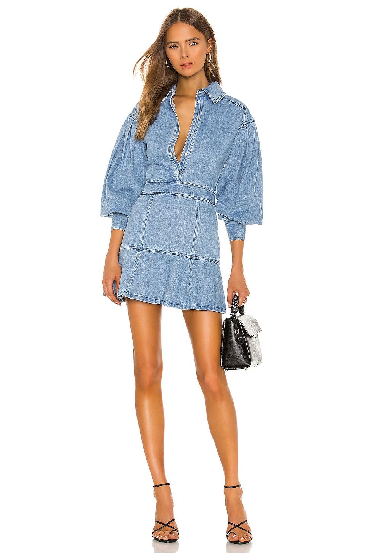 L'Academie The Sabrina Mini Dress in Indigo Blue