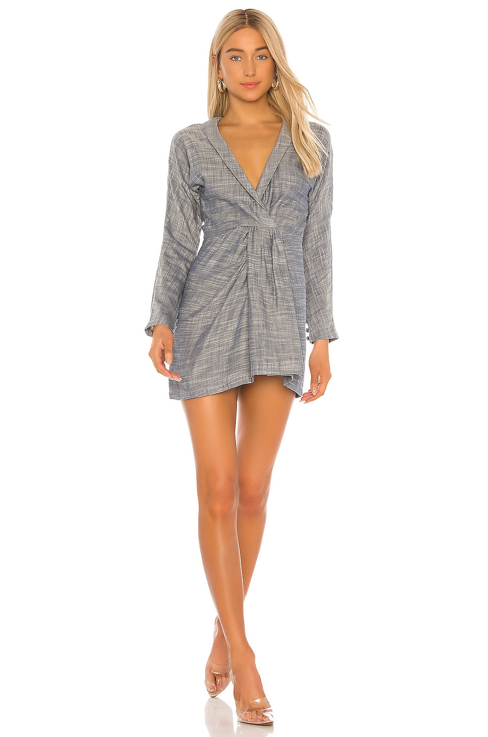 L'Academie The Acacia Mini Dress in Dusty Blue