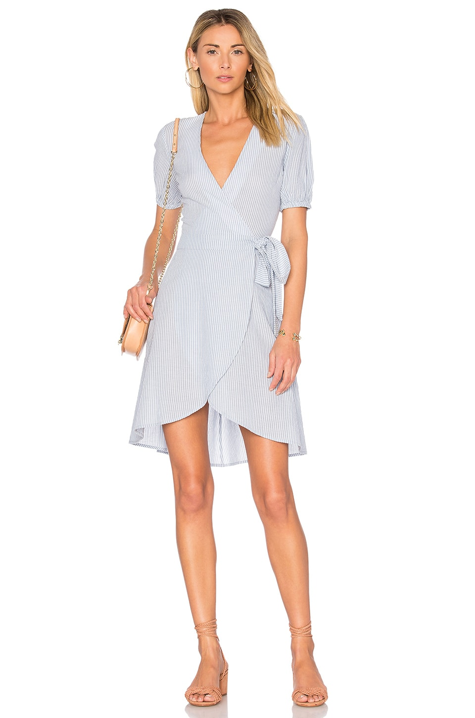 L'Academie x REVOLVE The Hi-Low Wrap Dress in Blue Ladder Stripe