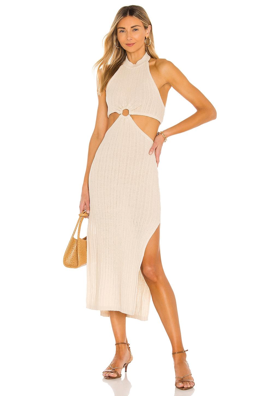 L'Academie Magnolia Midi Dress in Tan