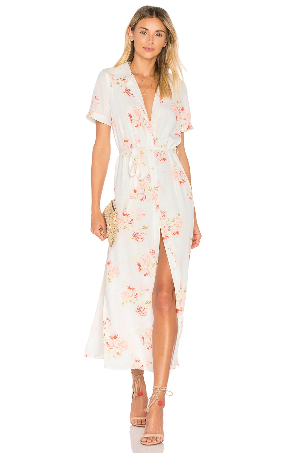 L'Academie The Maxi Shirt Dress in Peach Floral