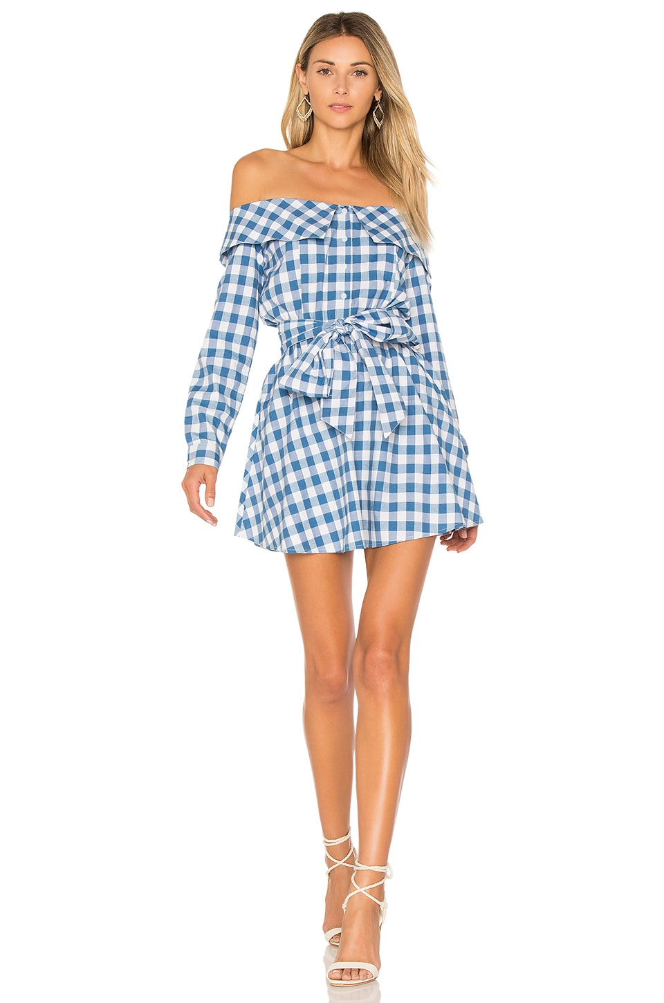 L'Academie X REVOLVE Jann Button Up Dress in Light Blue Gingham
