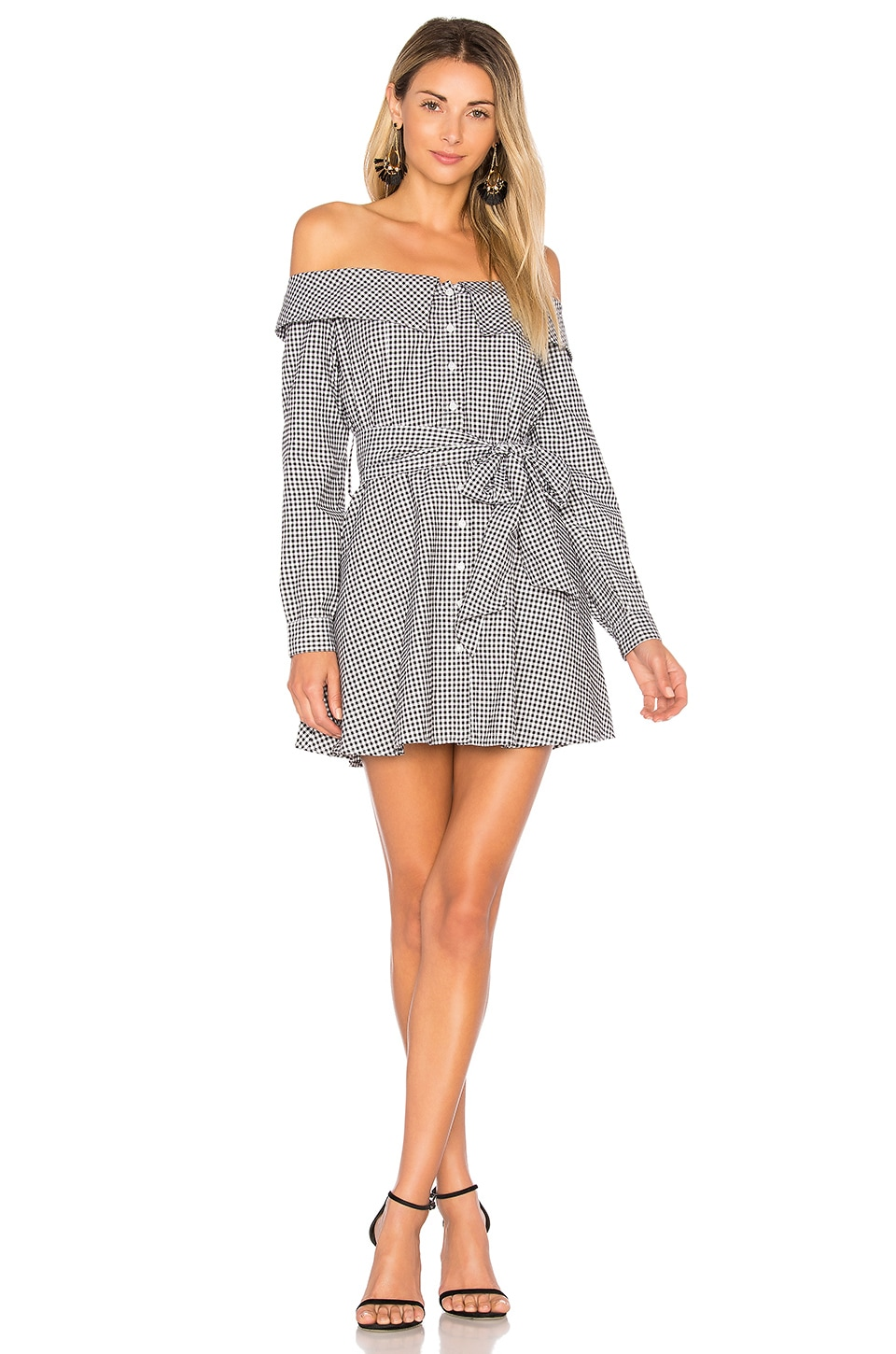 L'Academie Jann Button Up Dress in Black & White Gingham
