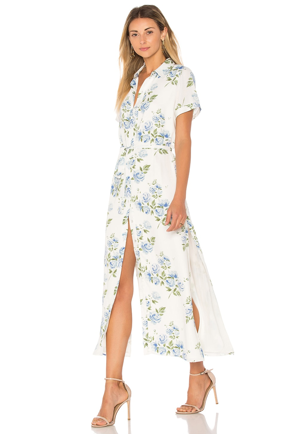 L'Academie The Shirt Dress in Blue Floral
