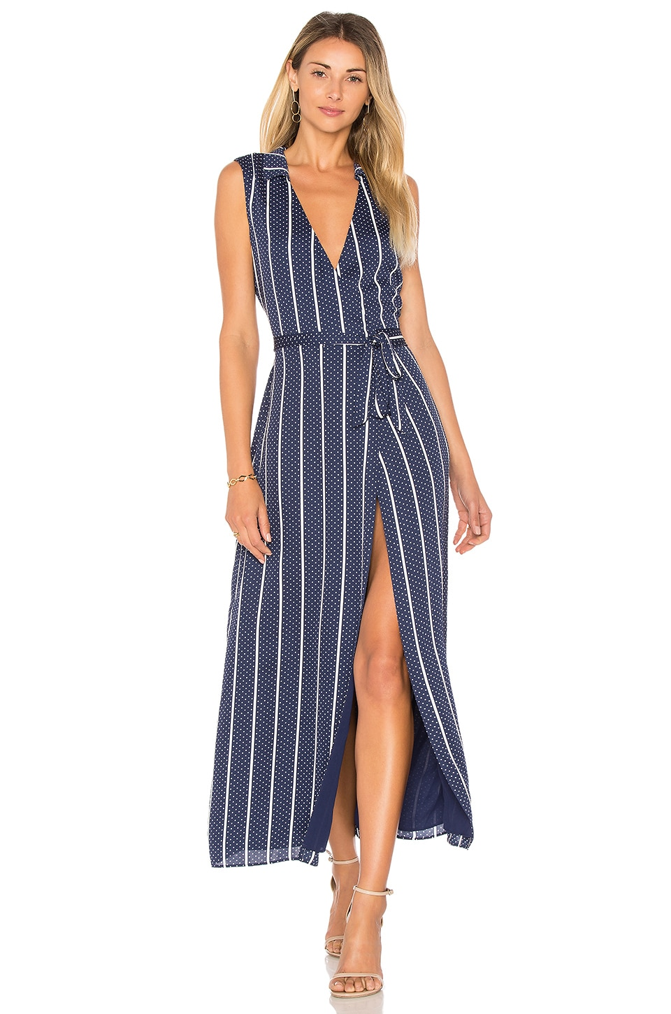 L'Academie The Wrap Dress in Navy Dot Stripe