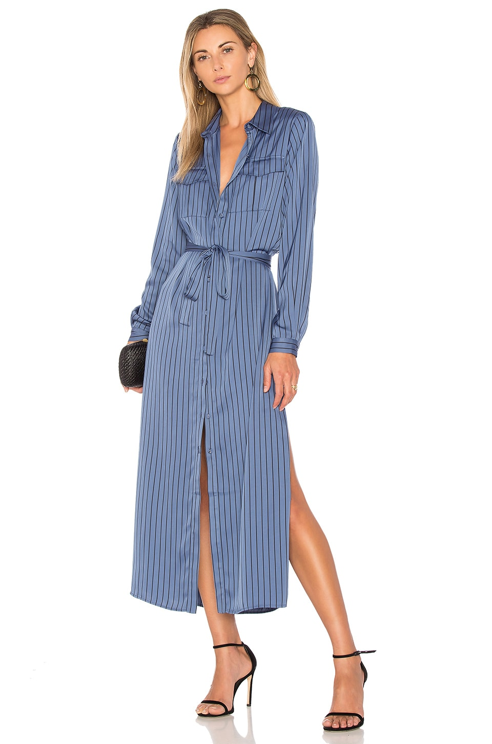 L'Academie The Long Sleeve Shirt Dress in Azure Pinstripe