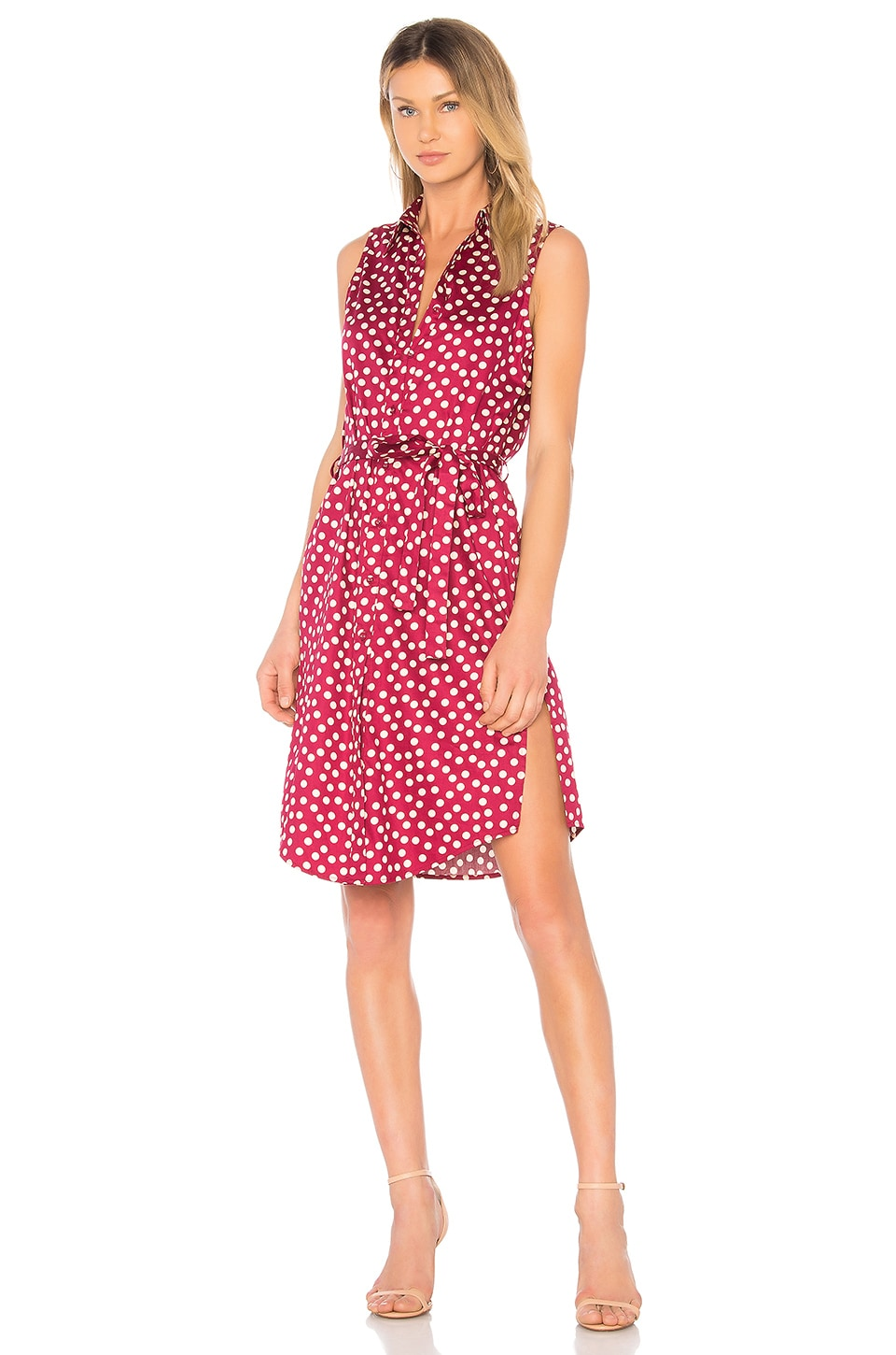 L'Academie The Sleeveless Midi Dress in Red Dot