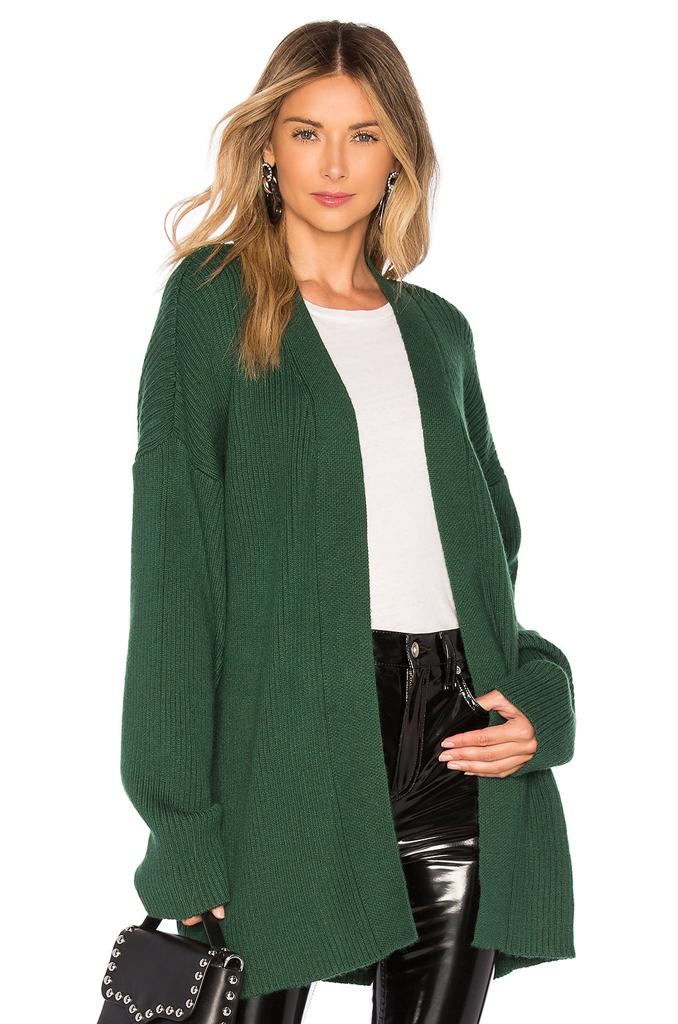 L'Academie Hannah Wrap Sweater in Emerald