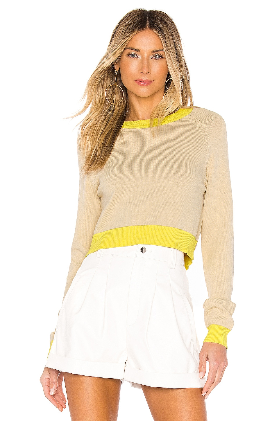 L'Academie Endrino Sweater in Nude & Yellow