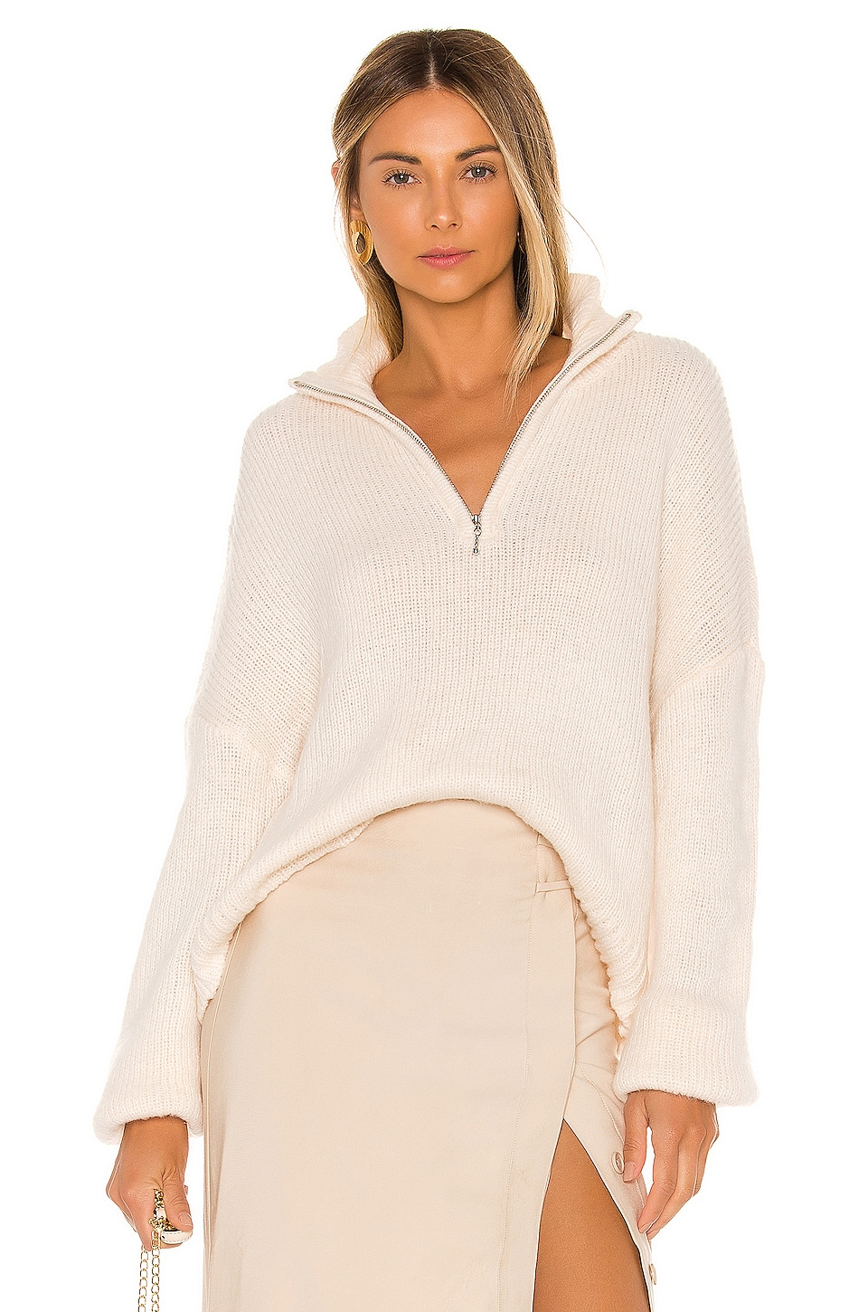 L'Academie Oliver Zip Up Sweater in White