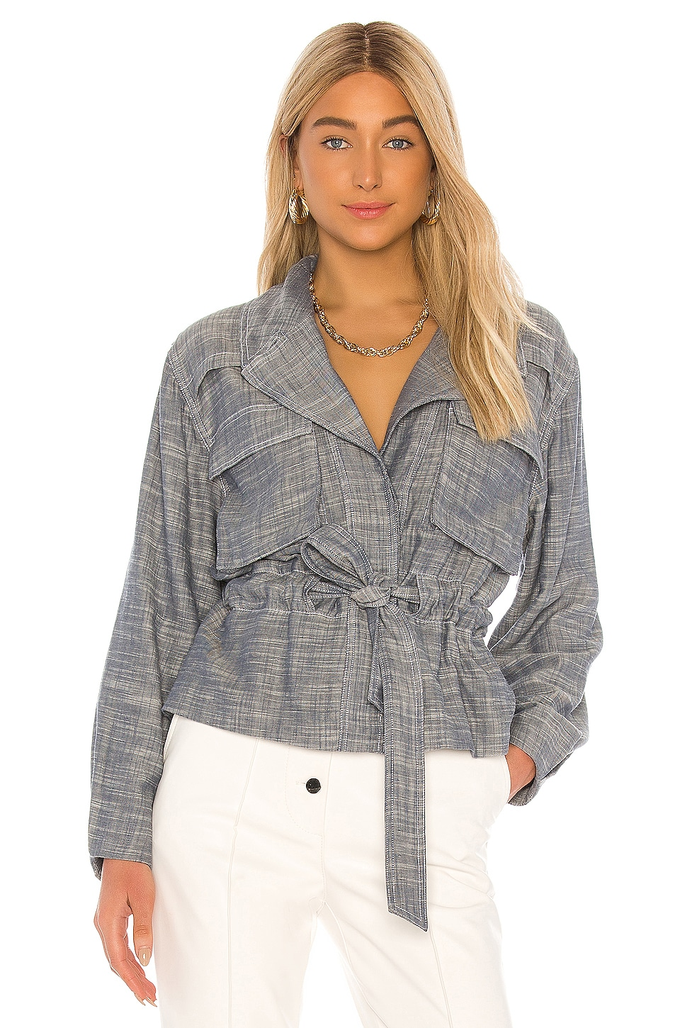L'Academie The Ella Jacket in Dusty Blue
