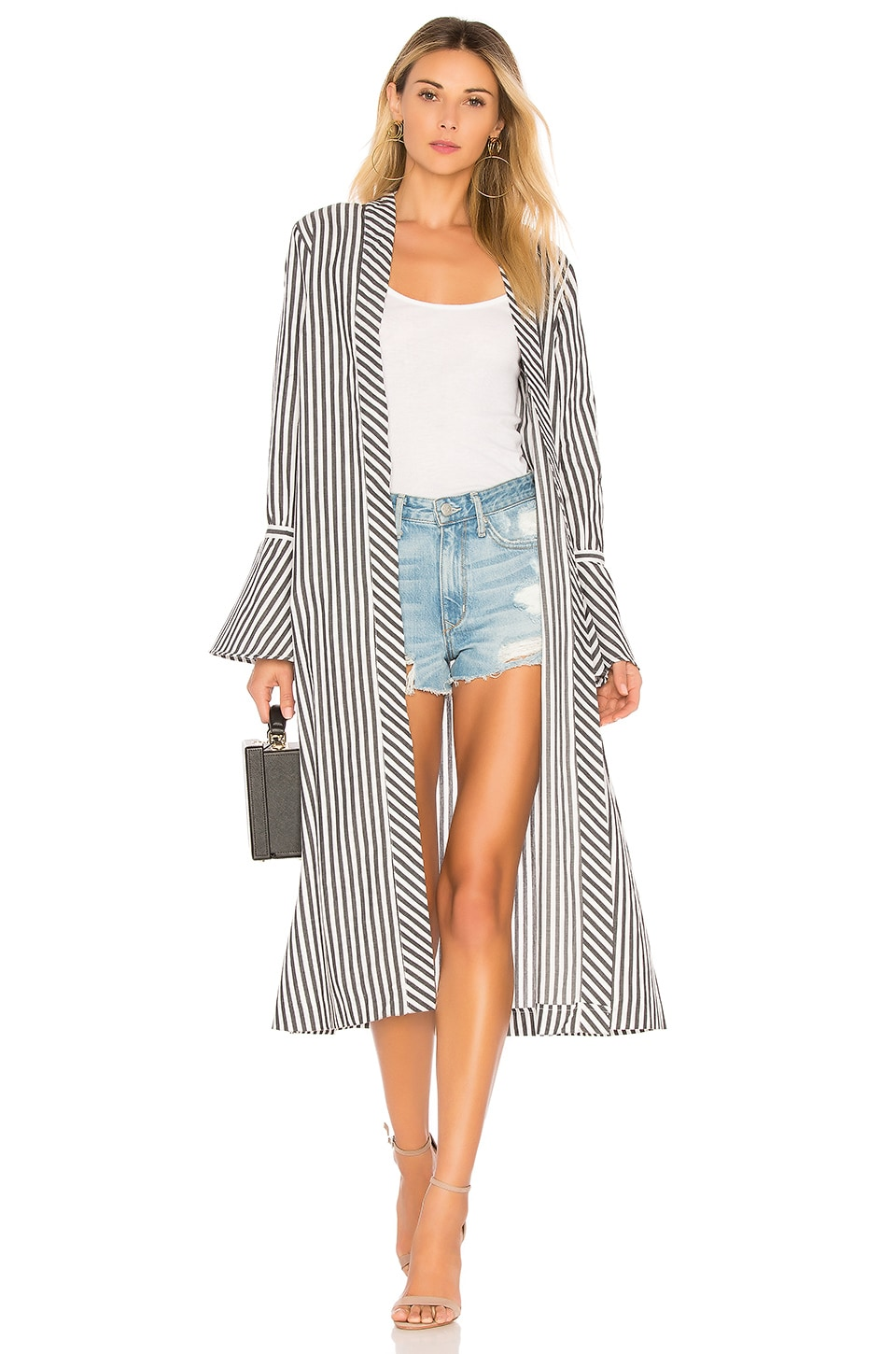 L'Academie Alex Duster in Grey White Stripe