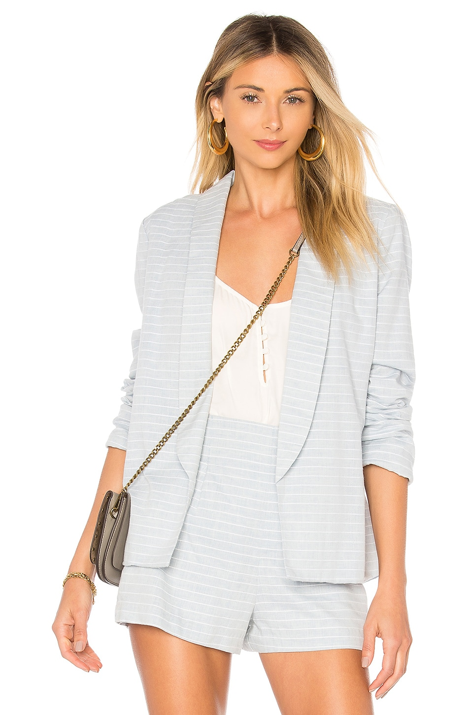 L'Academie The Carter Blazer in Chambray Stripe