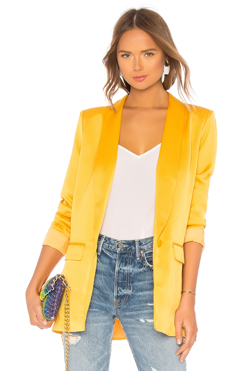 L'Academie The Fleur Blazer in Mustard Yellow
