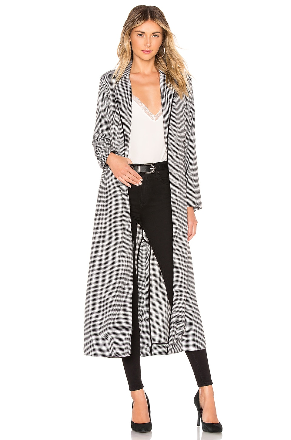 L'Academie The Tess Trench Coat in Black Houndstooth