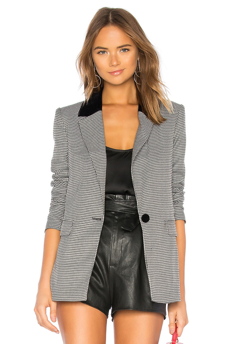 L'Academie the Lynn Blazer in Black Houndstooth
