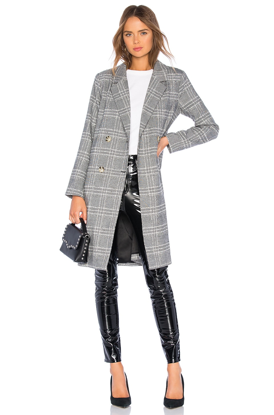 L'Academie The Amira Coat in Grey Plaid