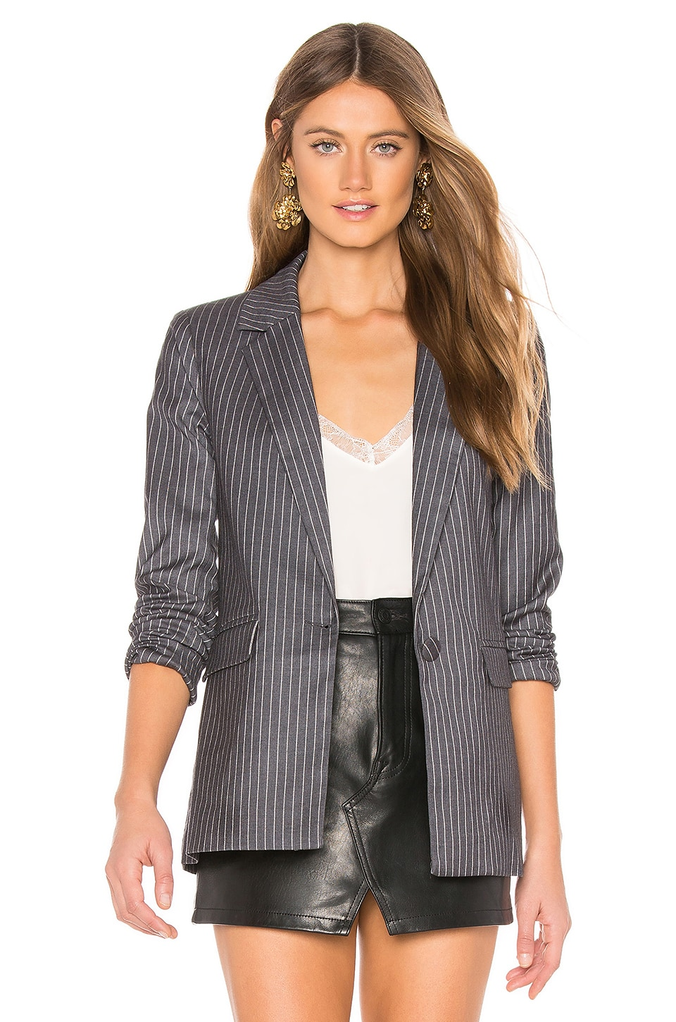 L'Academie The Lynn Blazer in Grey & White
