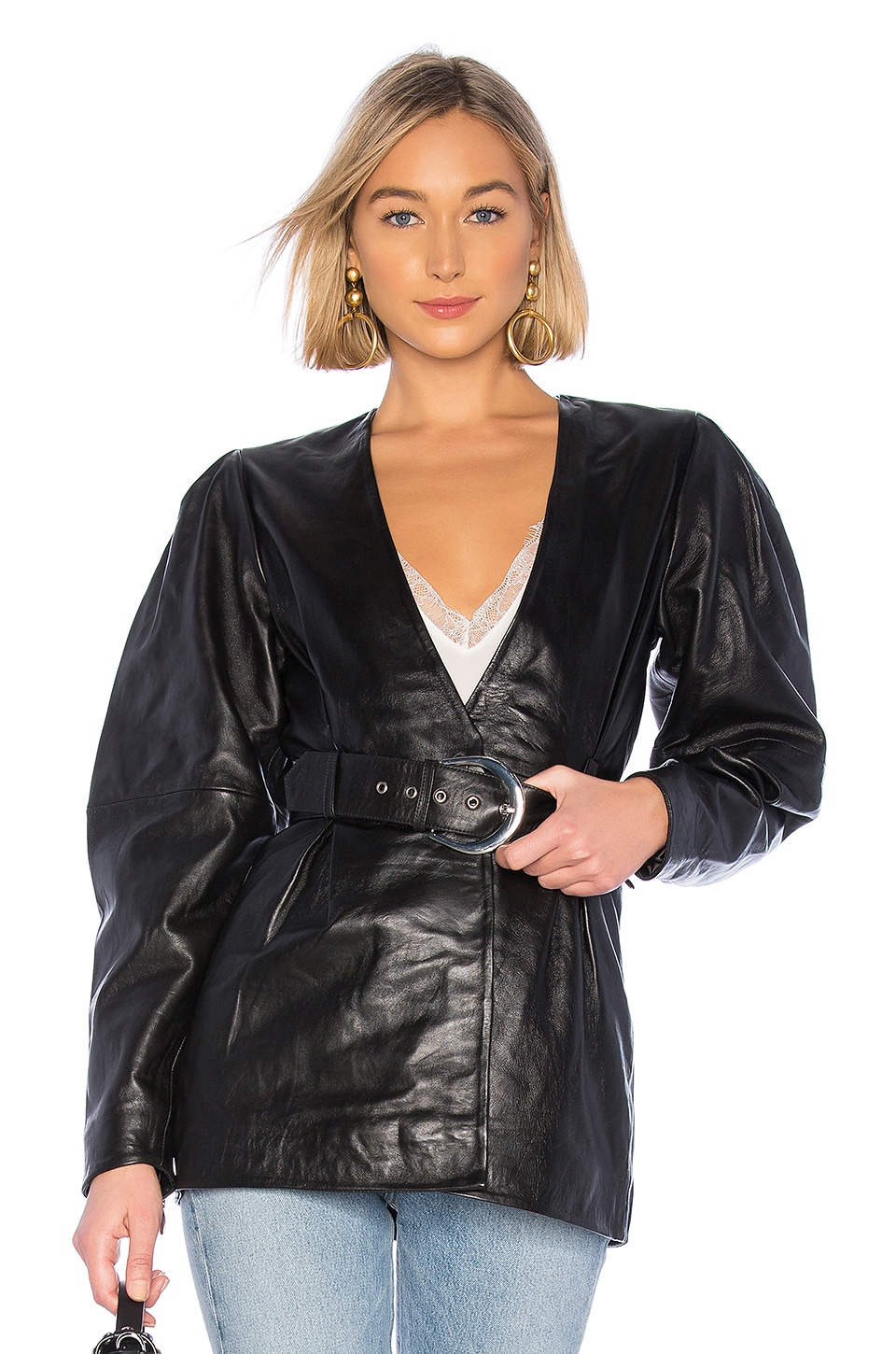 L'Academie The Marais Leather Jacket in Black
