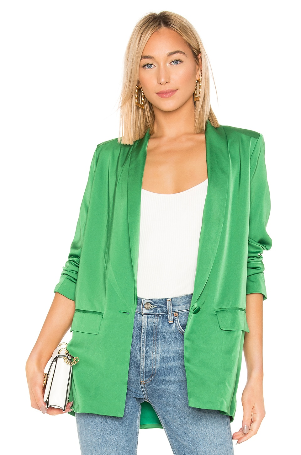 L'Academie The Fleur Blazer in Kelly Green