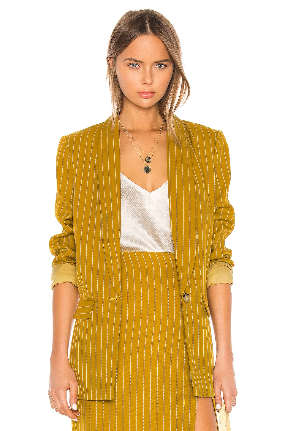 L'Academie The Fleur Blazer in Mustard & White