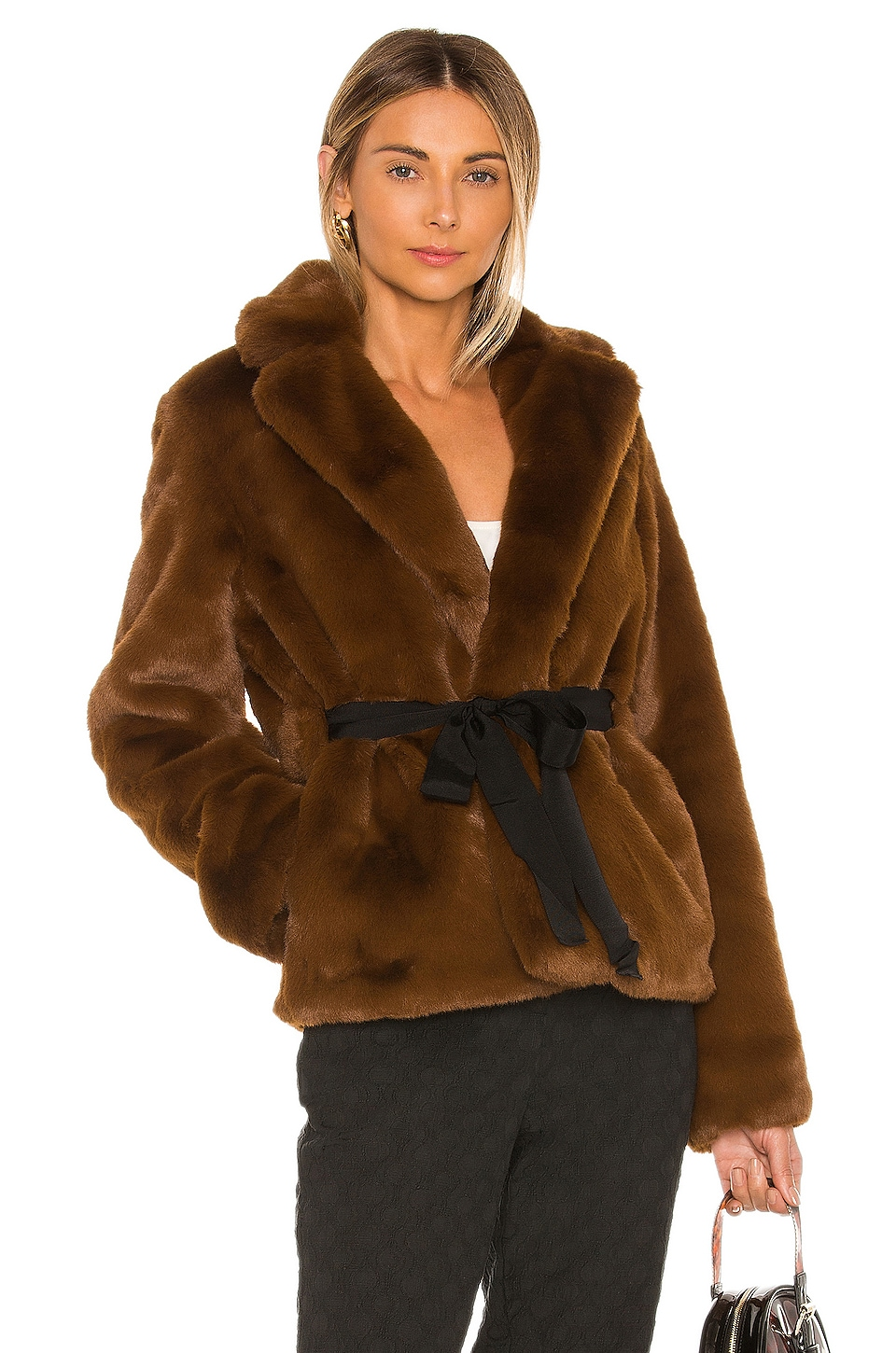 L'Academie The Macee Faux Fur Coat in Brown
