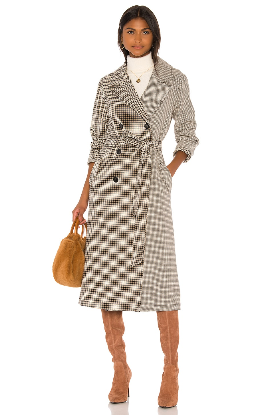 L'Academie The Pamela Trench in Taupe Plaid
