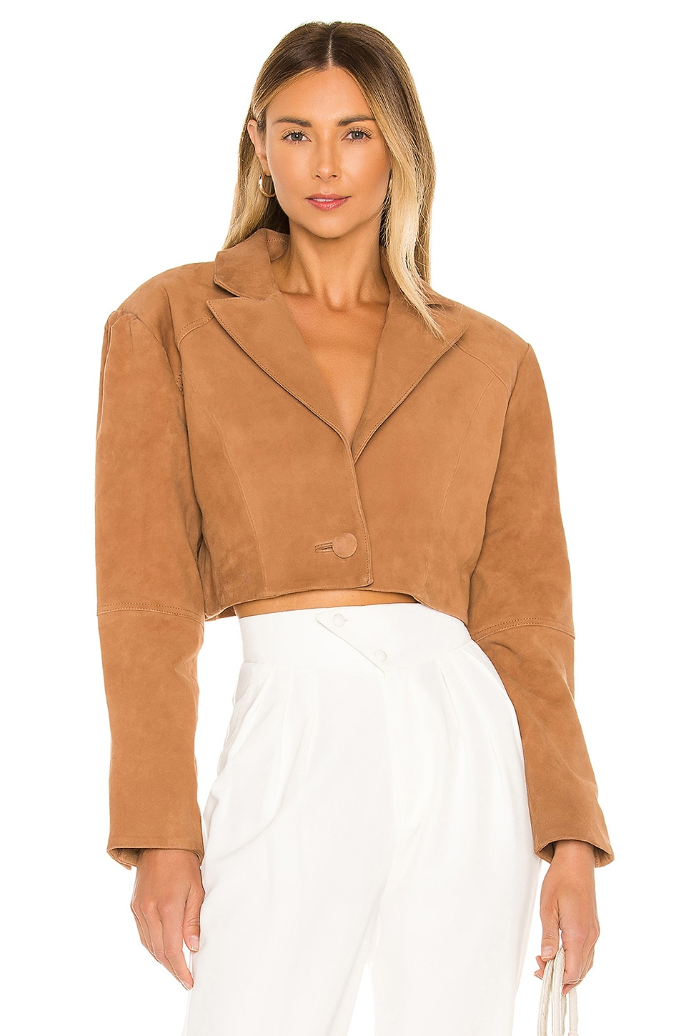 L'Academie Ansley Cropped Leather Jacket in Nude Camel