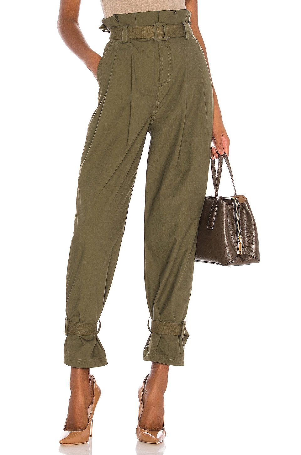 L'Academie The Virgil Pant in Olive Green