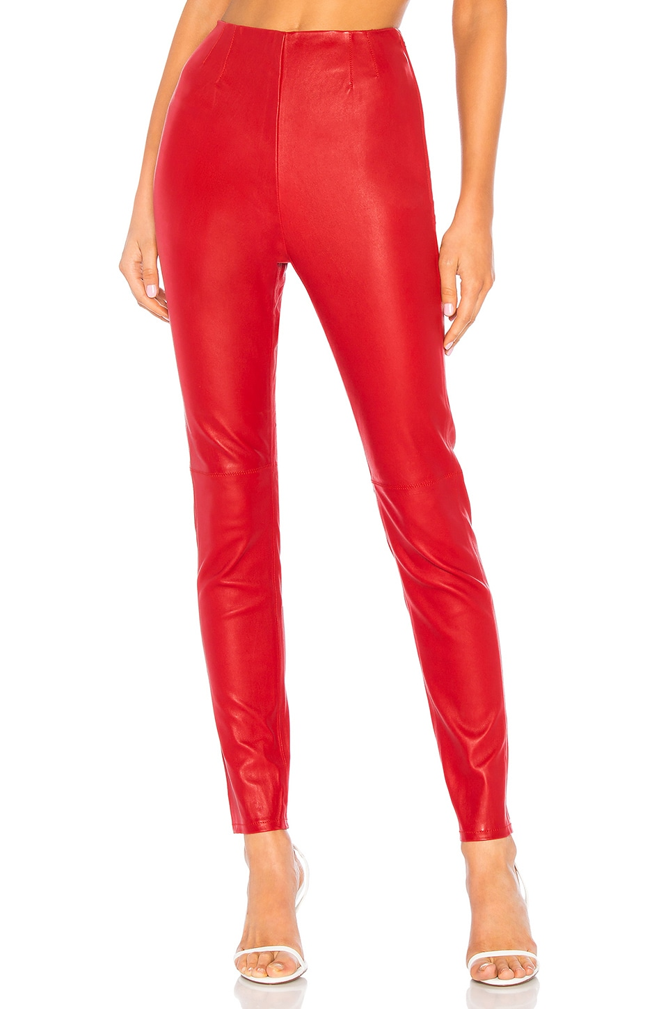 L'Academie Angelica Leather Pants in True Red