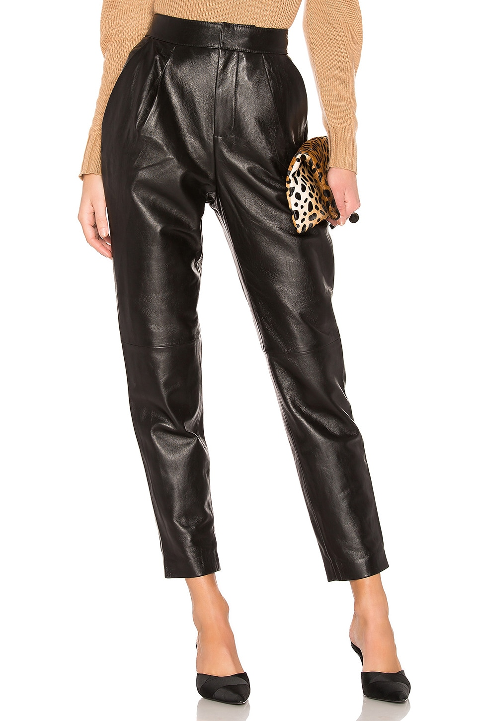 L'Academie The Bisous Leather Pant in Black