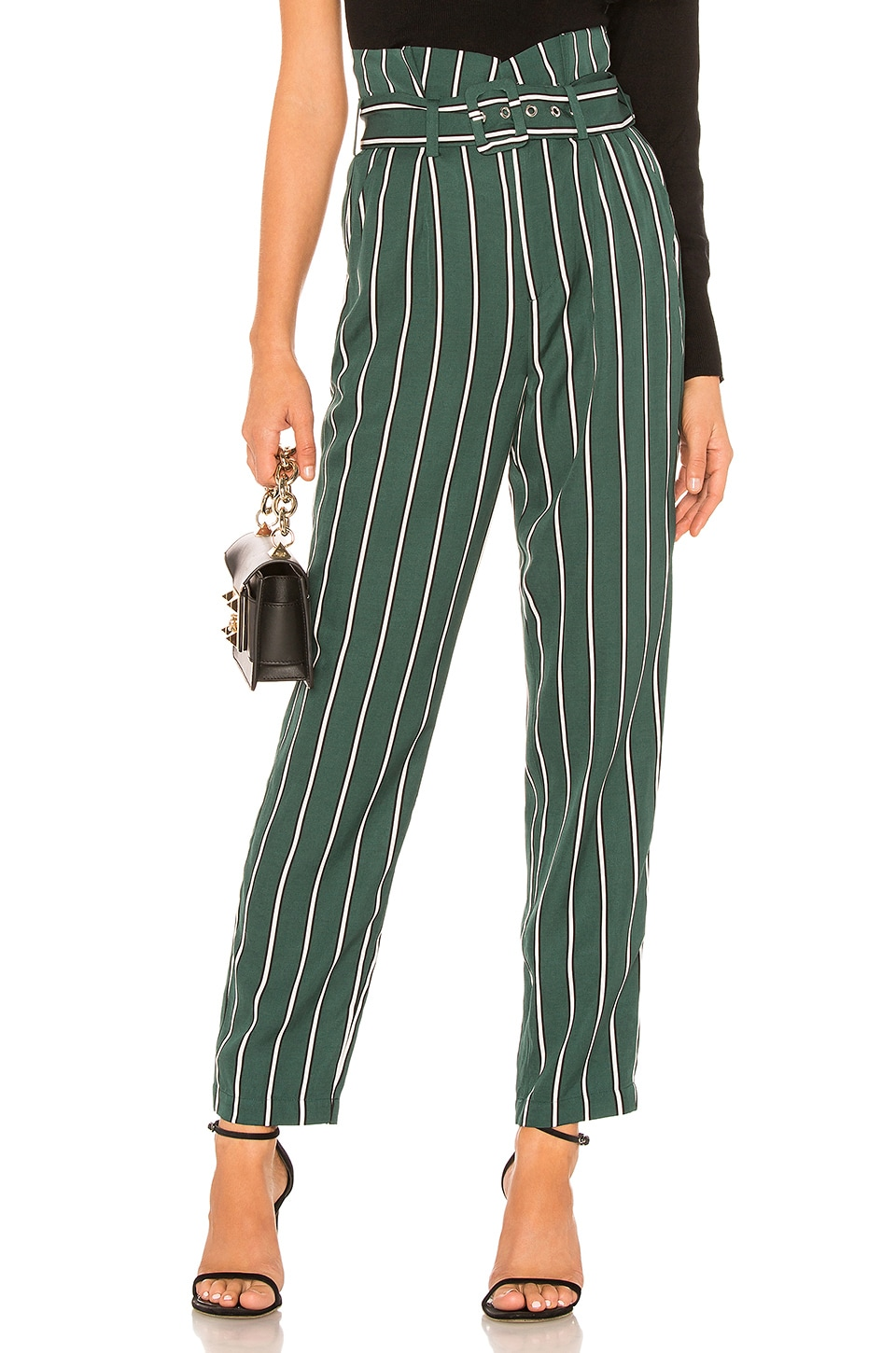 L'Academie The Carla Pant in Kelly Green Stripe